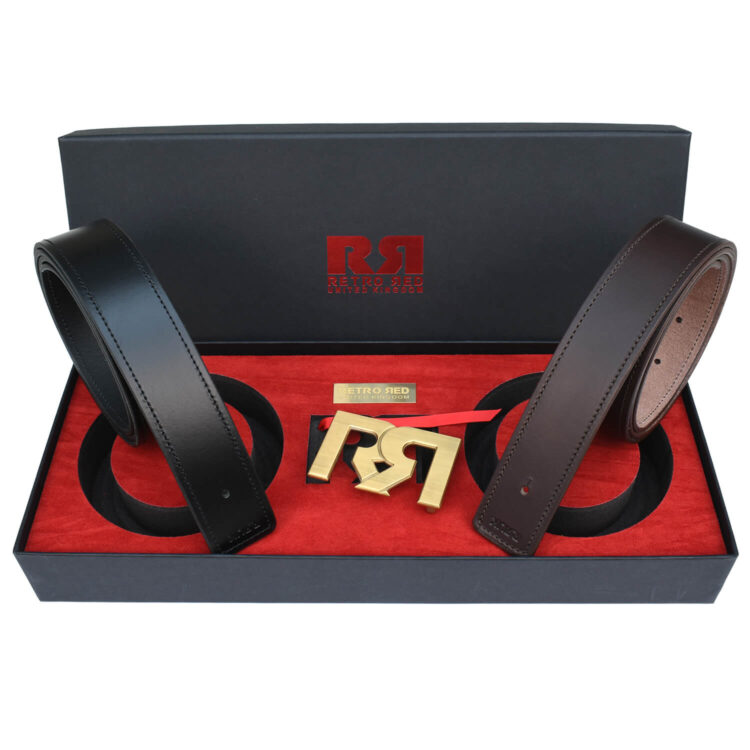 RR Brushed Gold Designer belt set with Brown & Black Leather belts