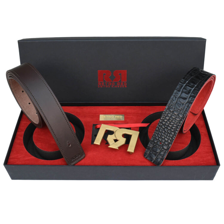 RR Brushed Gold Designer belt set with Brown & Croc Leather belts