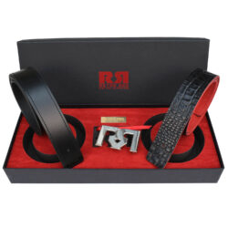 Men's Black & Croc Embossed leather belts with polished Palladium plated RR buckle