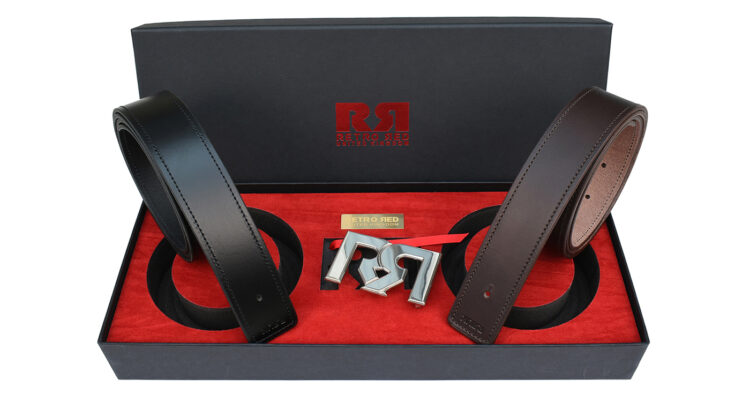 RR Palladium Designer belt set with Brown & Black Leather belts 2020