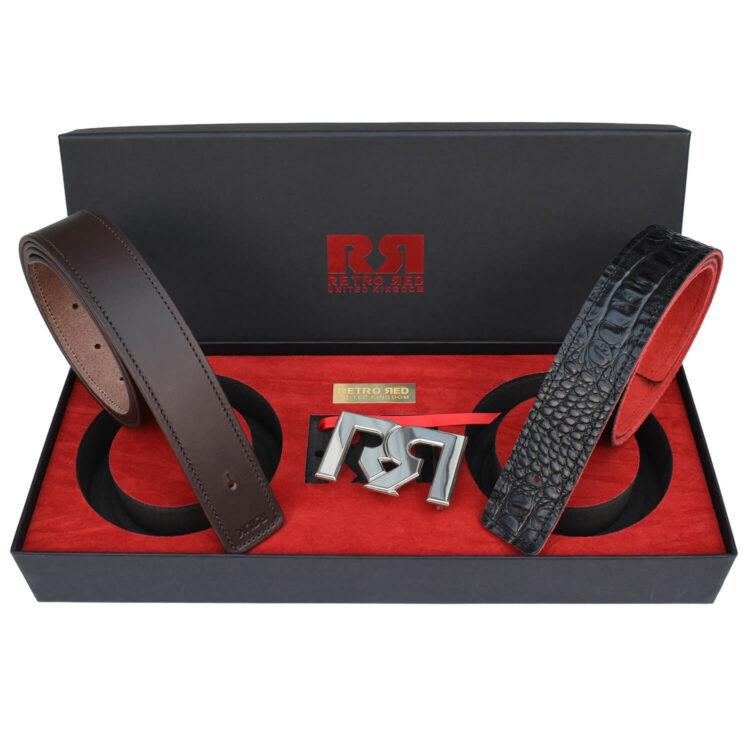 RR Palladium Designer belt set with Brown & Croc Leather belts