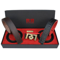 Men's Brown & Croc embossed leather belts with polished 24k Gold plated RR buckle