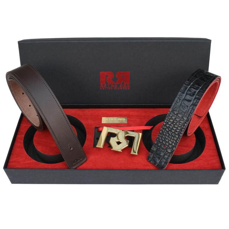 RR Polished Gold Designer belt set with Brown & Croc Leather belts