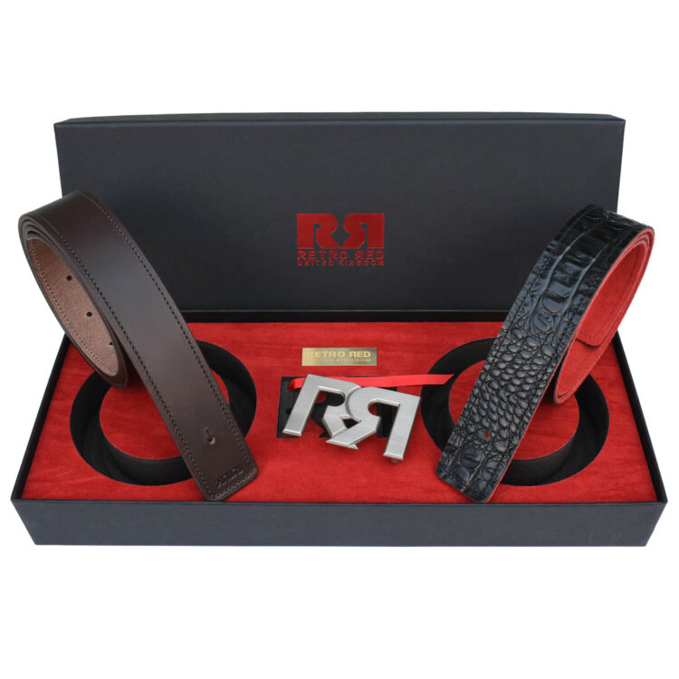 RR Silver Designer belt set with Brown & Croc Leather belts