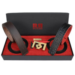 Men's Brown & Croc embossed leather belts with 2-tone 24k Gold plated RR buckle