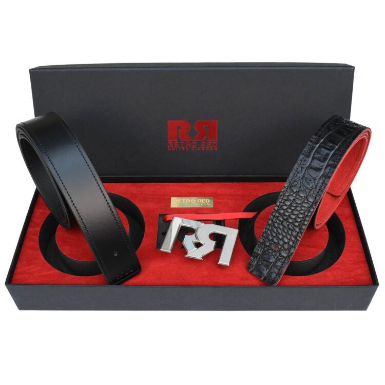 RR Two-Tone Palladium Designer belt set with Black & Croc Leather belts