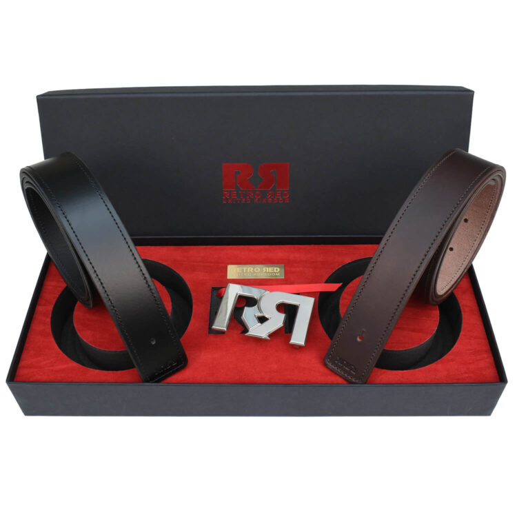 RR Two-Tone Palladium Designer belt set with Brown & Black Leather belts
