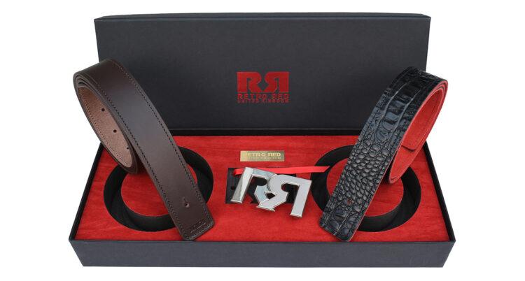 RR Two-Tone Palladium Designer belt set with Brown & Croc Leather belts 2020