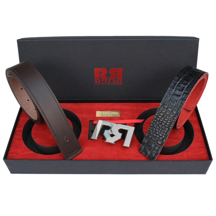 RR Two-Tone Palladium Designer belt set with Brown & Croc Leather belts