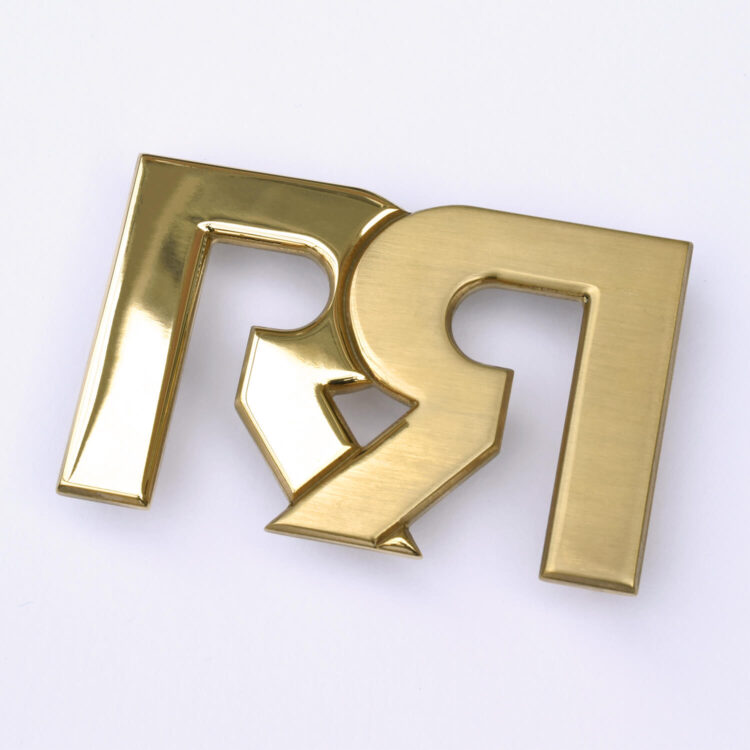 Two-Tone Gold plated RR Belt Buckle