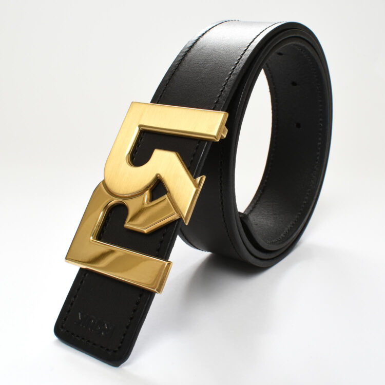 RR Gold Plated 2 tone buckle with black leather belt