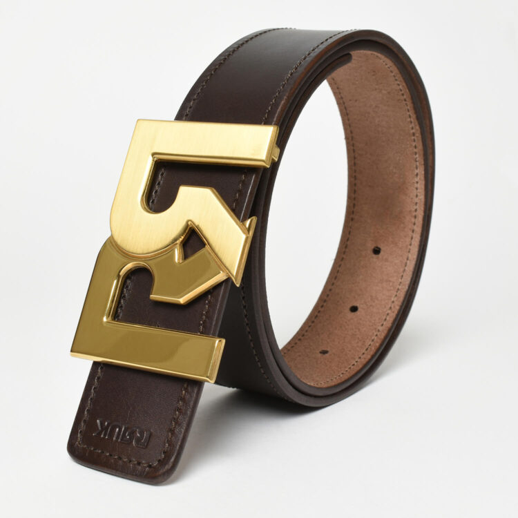 RR Gold plated 2-tone buckle with brown leather belt