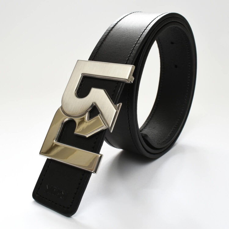 RR Palladium plated 2-tone belt buckle & black leather belt
