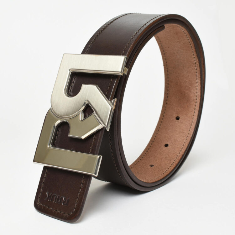 RR Palladium Plated 2-tone belt buckle with Brown leather belt