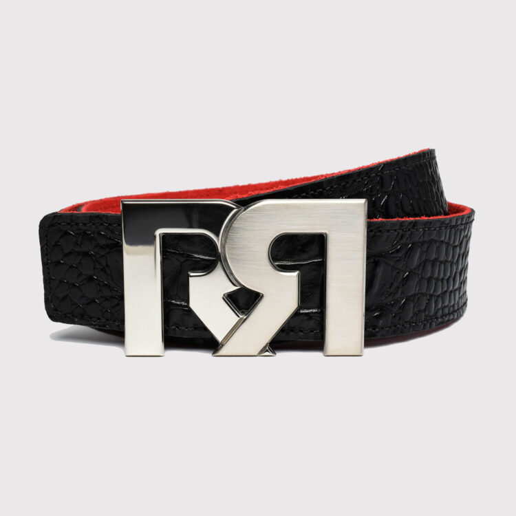 RR Palladium plated 2-Tone belt buckle with Croc Embossed leather belt
