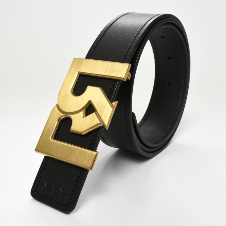 RR Gold plated brushed belt buckle with black leather belt