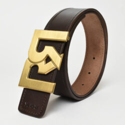 Men's Brown & Black leather belts with brushed 24k Gold plated RR buckle