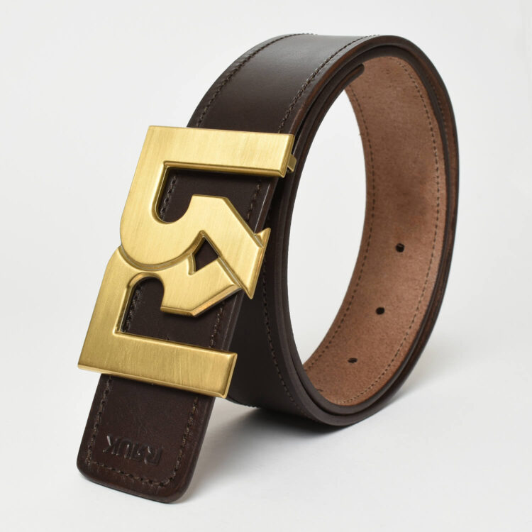 RR Gold plated brushed belt buckle with brown leather belt