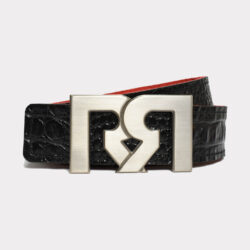 Women's Black & Croc embossed leather belts with Silver plated RR buckle