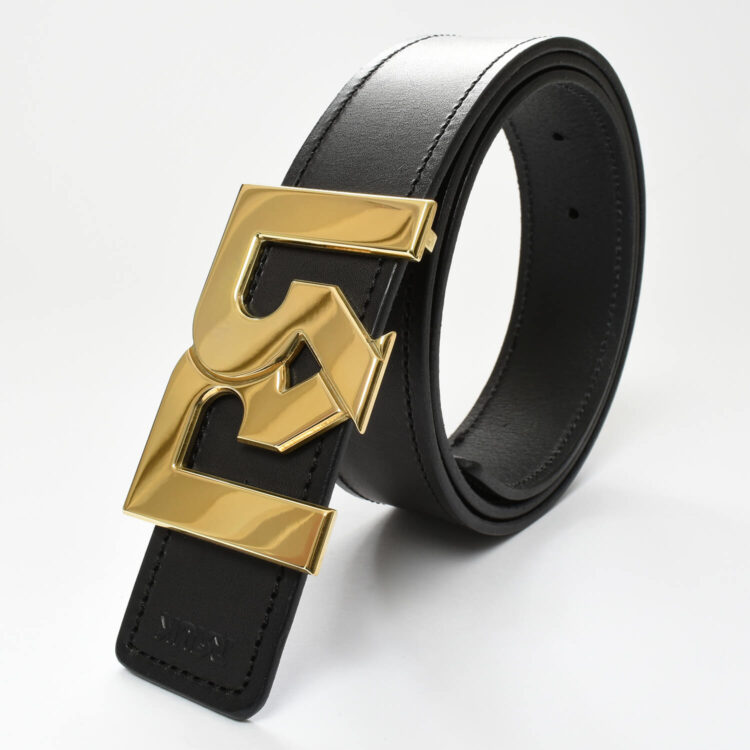 RR Gold plated belt buckle with black leather belt