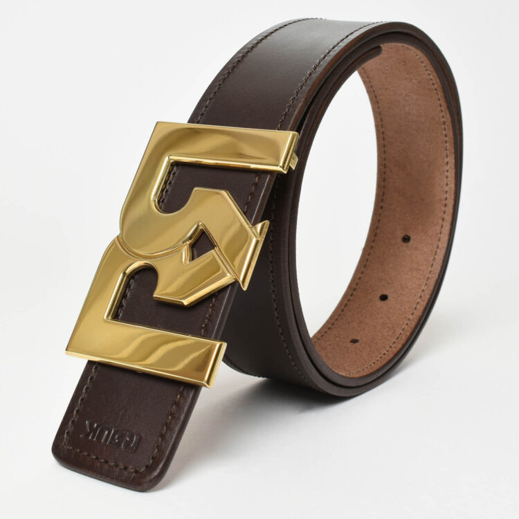 RR Gold plated belt buckle with brown leather belt
