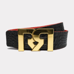 Women's Brown & Croc embossed leather belts with polished 24k Gold plated RR buckle