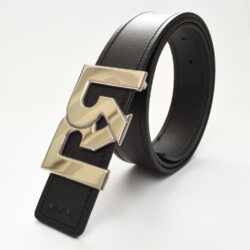 Men's Black & Brown leather belts with polished Palladium plated RR buckle