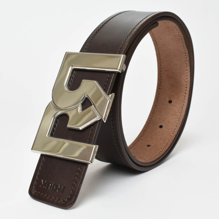 RR Palladium plated belt buckle with brown leather belt
