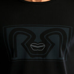 Black Slim Fit RR Lips T-shirt