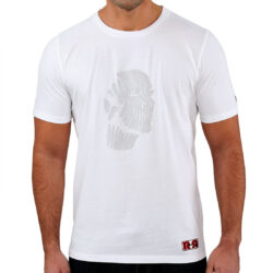 White Abstract Face Gel Print T-shirt