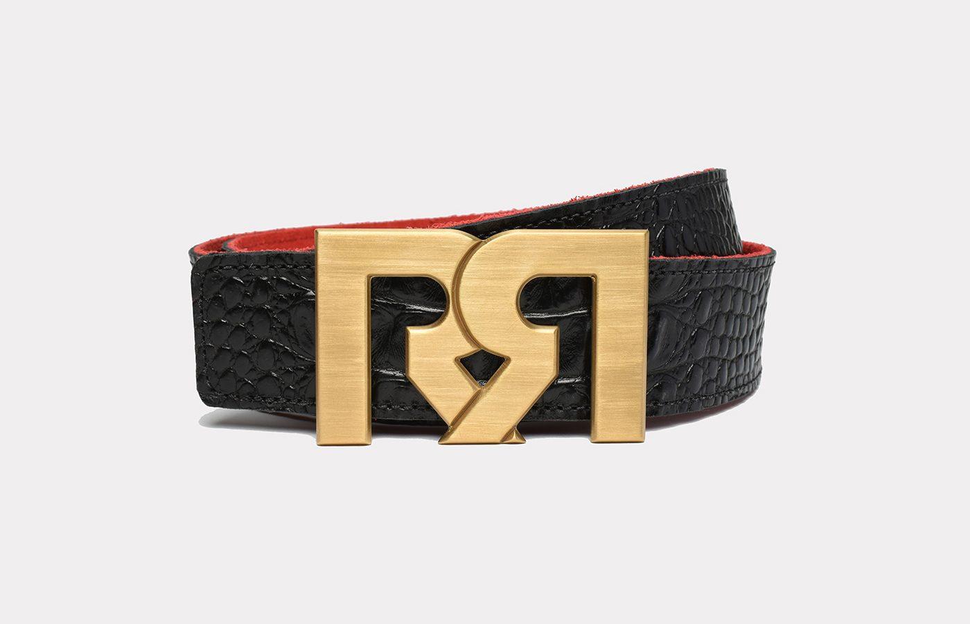 RR Designer belts Brushed 24k Gold plated with Croc Embossed Leather strap