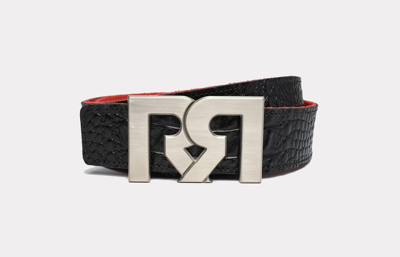 RR Designer belts Brushed Silver plated with Croc Embossed Leather strap