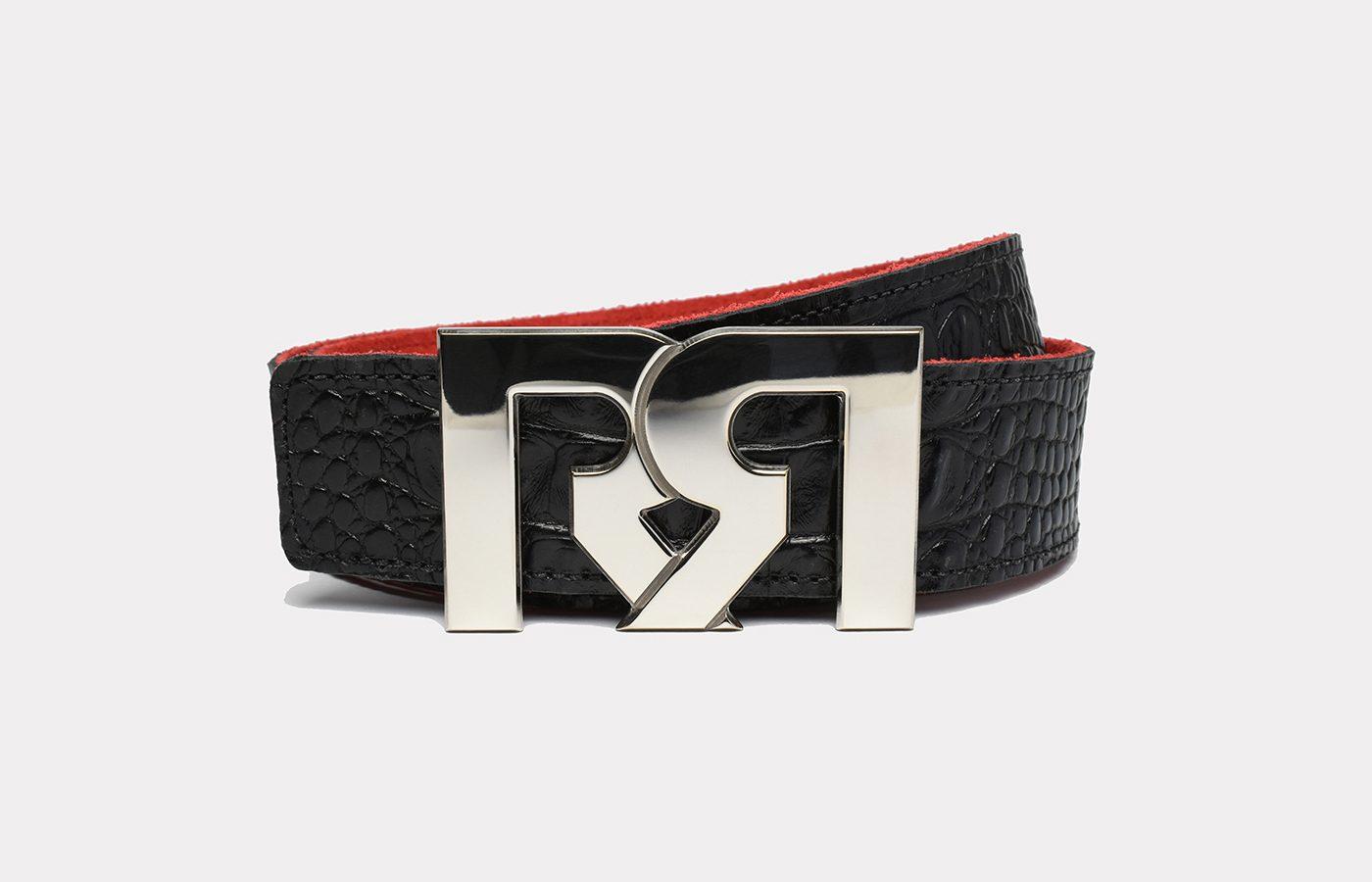 RR Designer belts Polished Palladium plated with Croc Embossed Leather strap