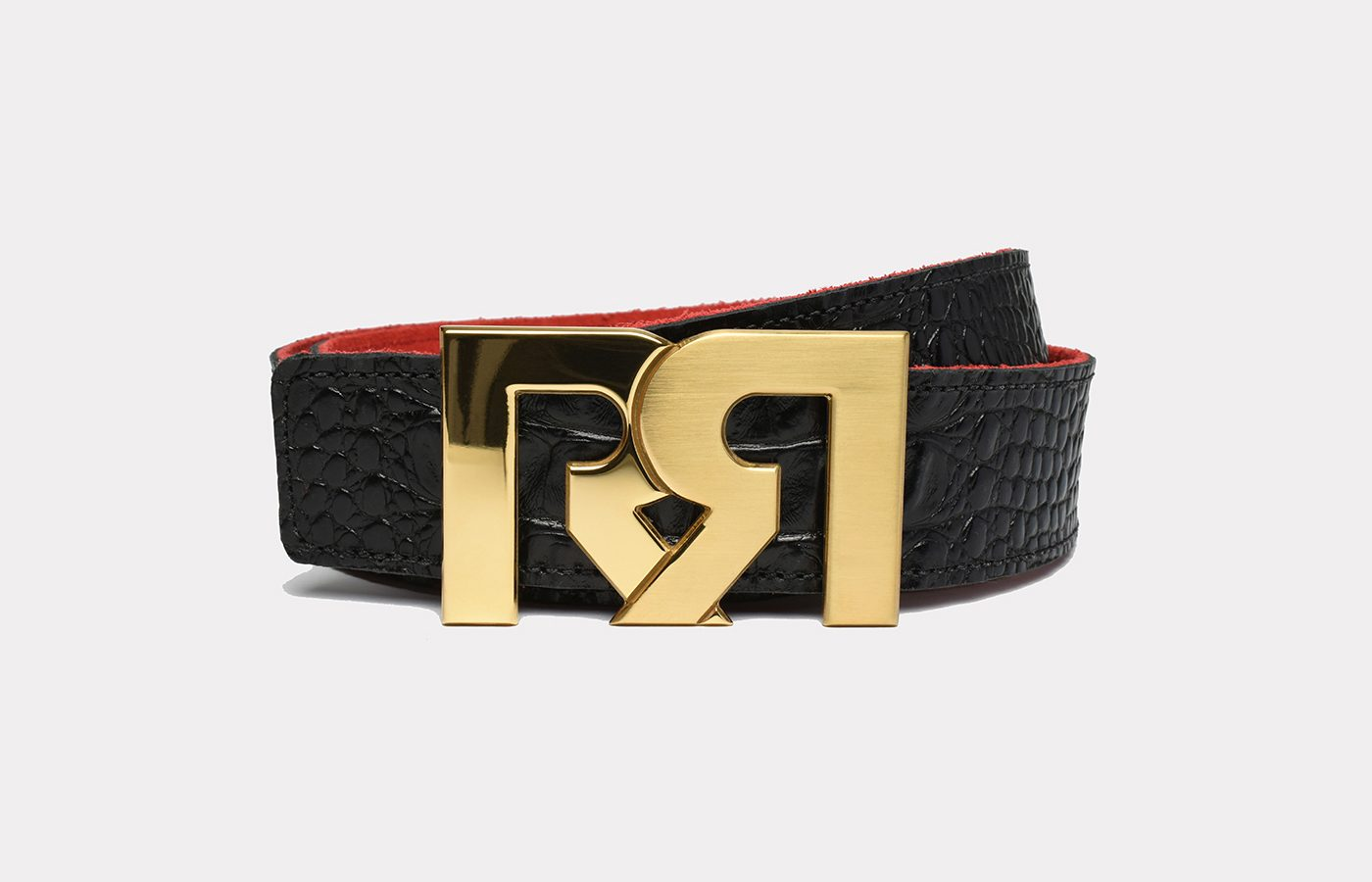 RR Designer belts two-tone 24k Gold plated with Croc Embossed Leather strap