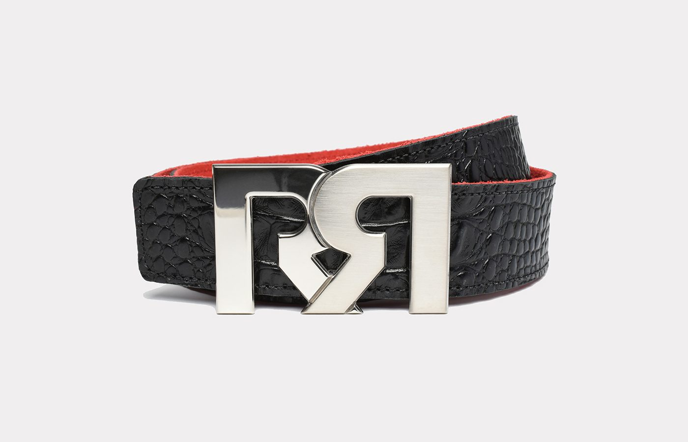 RR Designer belts two-tone Palladium plated with Croc Embossed Leather strap